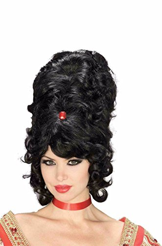 [Mememall Super Jumbo Wig Tall Black Beehive 1950's Lady Party Costume One Size] (Black Beehive Wig)
