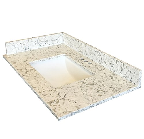 Home Depot Undermount Sinks - 37-Inch Quartz Vanity Top with under-mount sink - Modern Versatile Frost