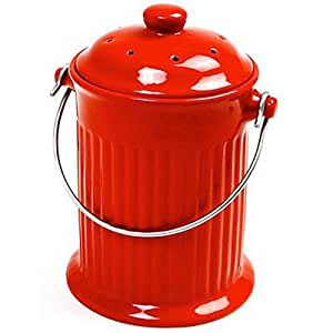 Norpro 1 Gallon Ceramic Compost Keeper, Red