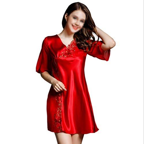 Pijama 01 100 Femenino De Size Bordado Camisón L color 02 Seda Encaje Felicigg dqA7A