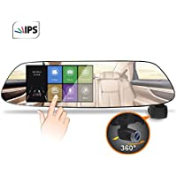 Car Dash Cam Momentum 1080P HD 5inch IPS Rear View Mirror Night Vision 360 Degree Ultra Wide Angle Dash Camera Parking Monitor WDR Loop Recording