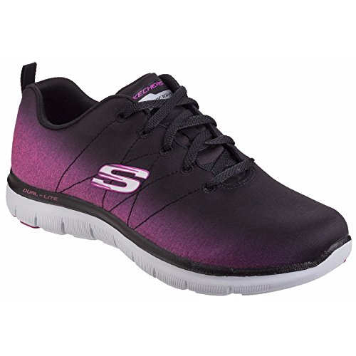 SK12763 Up Bright Lace Side Flex Ladies 2 Black Trainers Hot Womens Appeal Skechers Pink 0 0wHqEvB