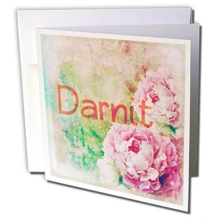 3dRose Cassie Peters Granny Swears - Darnit Roses - 12 Greeting Cards with Envelopes (gc_283673_2)