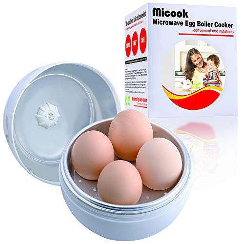 Only 5 Minutes for Hard or Soft Boiled Eggs, MICOOK Microwave Egg Cooker, Microwave Egg boiler poacher, No Piercing Required, Dishwasher Safe, Hot Sell in Japan