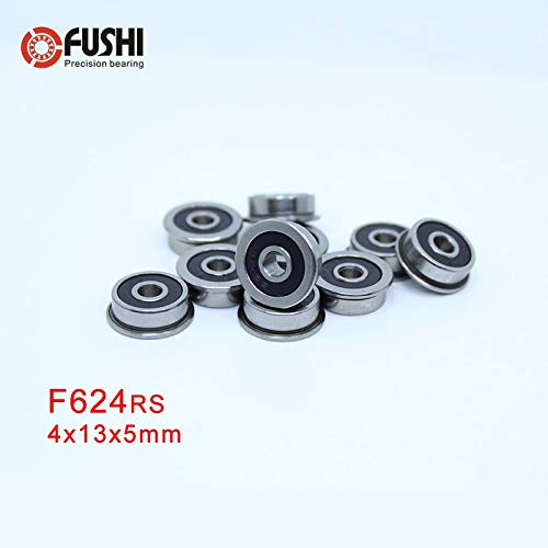Miniature Metal Shielded 10PCS F624ZZ PRECISION Bearing 4x13x5mm Flanged