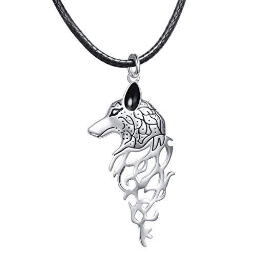 (Flyow 925 Sterling Silver Norse Viking Wolf Pendant Necklace Amulet Gift for Men Women,24 inch)