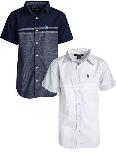 - U.S. Polo Assn. Boy\\\'s Short Sleeve Woven Shirt (2 Pack) Light Grey/Navy, Size 10/12'
