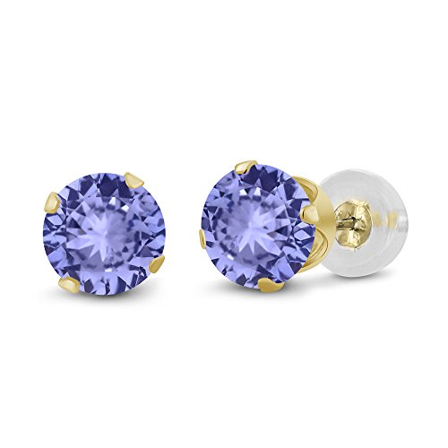 Gem Stone King 0.60 Ct Round 4mm Blue Tanzanite 14K Yellow Gold Stud Earrings