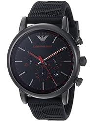 Emporio Armani Mens Luigi Quartz Stainless Steel and Silicone Casual Watch, Color Black (Model: AR11024)