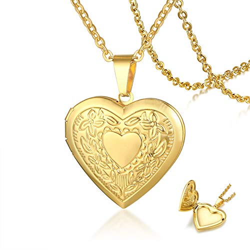 SIRNJ Forever Love Stainless Steel Heart Locket Necklace Pendant That Holds Pictures with Design (Fancy Heart Design-Gold)