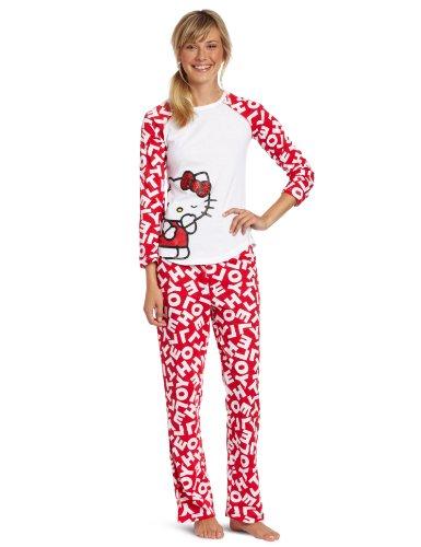 Hello Kitty Juniors What's My Name Pajama Set, Red/White, Small