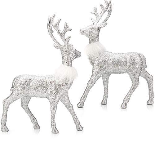 iPEGTOP 2 Pcs Glitter Reindeer Decor Christmas Standing Deer Figurines, 12.6