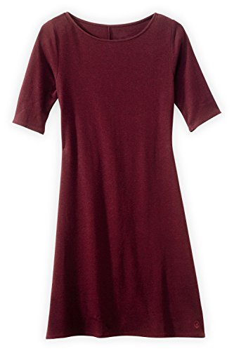 Fair Indigo Fair Trade Organic Boat Neck Dress (L, Burgundy Heather) (Cotton Dress Pima)