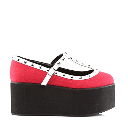 Strap Sandals Leather Demonia 07 Leather White Click Vegan Women's Vegan T Canvas Canvas Red Black 06E0r8xq