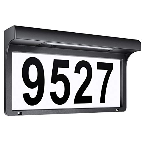 LeiDrail House Numbers Solar Powered Address Sign LED Illuminated Outdoor Metal Plaque Lighted Up for Home Yard Street