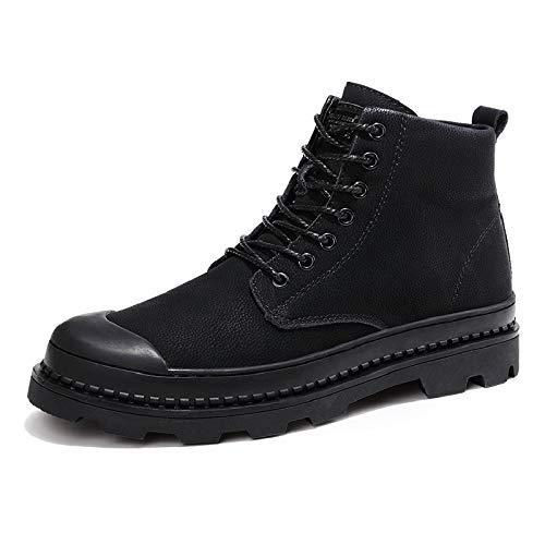 MON5F Home Herren Leder Stiefel Plus Samt Leder Herren Baumwolle Stiefel stilvolle Stiefel für die Arbeit oder Freizeit (Farbe   schwarz Plus Velvet, Größe   41)
