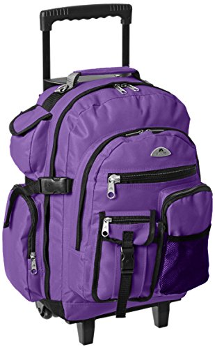 Everest Deluxe Wheeled Backpack, Dark Purple, One Size ()