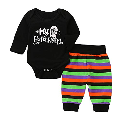 Baby Clothes Girl 12-18 Months Romper,Toddler Baby Boys Girls Long Sleeve Letter Romper Striped Halloween Outfits Set,Black,80 -