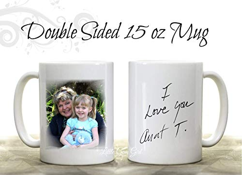 - Custom Photo Novelty Coffee Mug with your loved ones actual Handwriting 15 oz Coffee Cup - Personalized with Your Picture - Mother's Day Keepsake Gift
