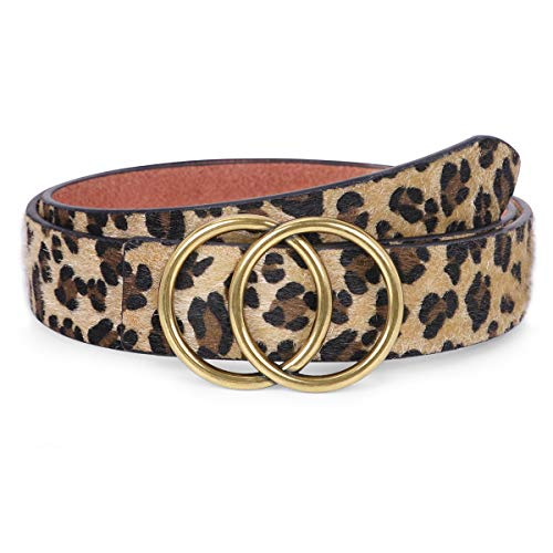 Sexy Leopard Print O Ring Belt for Women, Artificial Leather Belt with Horse Hair on Surface