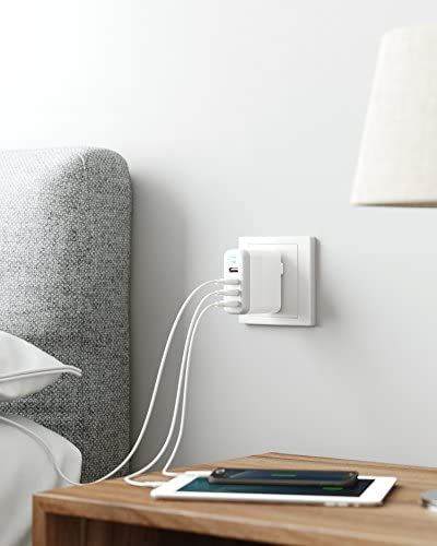 Anker 40W 4-Port USB Wall Charger with Foldable Plug, EnergyPort 4 for iPhone 11/XS/XS Max/XR/X/8/7/6/Plus, iPad Pro/Air 2/Mini 4/3, Galaxy/Note/Edge, LG, Nexus, HTC, and More, white (A2142)