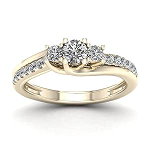 De Couer 10K Yellow Gold 1/2ct TDW Diamond Three Stone Engagement Ring (H-I, I2)