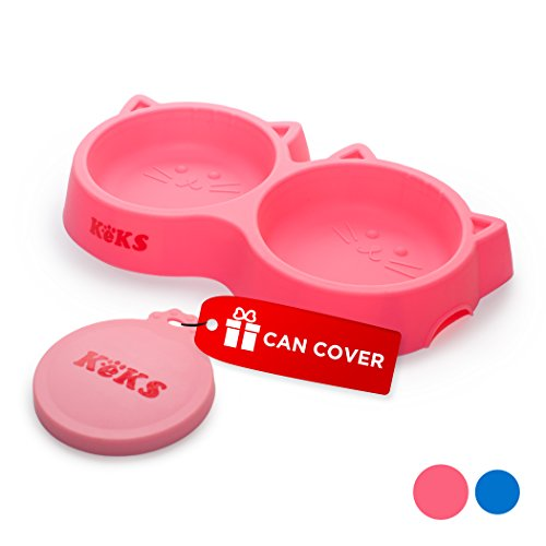 Cat Bowls Set of Silicone Food & Water Pink Bowls for Cats, Small Pet Dish, Kitten Feeder, Cat Feeding Bowl & Pets Food Can Cover
