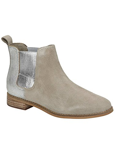 (TOMS Women's Ella Desert Taupe Suede/Silver Metallic Leather Boot (8.5))