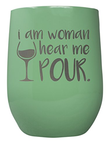 (TSC Powder Coated Hear Me Pour 12 oz Stemless Wine Glass with Lid-Aqua Forest)