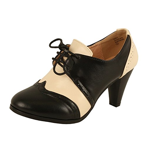 Guilty Shoes Retro Two Tone Embroidery - Wing Tip Lace Up - Kitten Heel Classic Pump Oxfords-Shoes