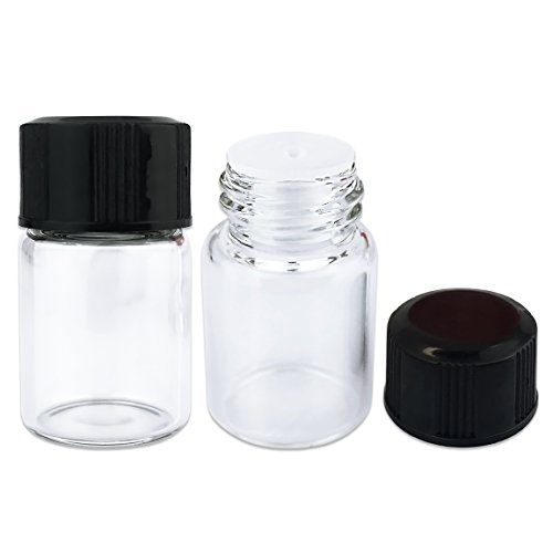 Beauticom (5/8 Dram) 2 ML (Quantity: 108 Packs) Clear Glass Vials with Orifice Reducer and Black Cap for storing Fragrances, Essential Oils, Serums, Perfumes and Cologne (Fragrance Vial)