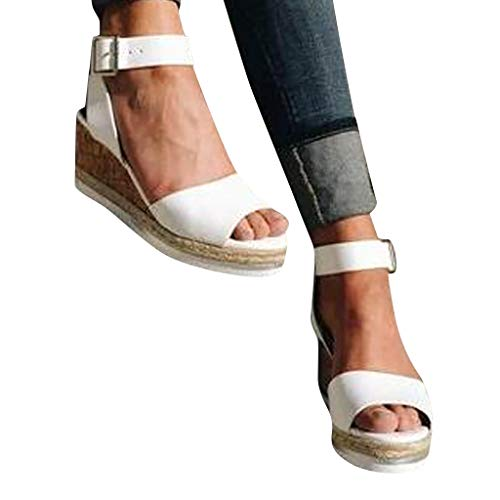 Cenglings Wedges Shoes,Womens Open Toe One Band Ankle Strap Platform Sandals Buckle Espadrilles Ladies Roman Sandals ()