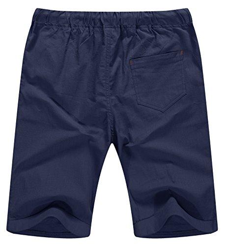 NITAGUT Men's Linen Casual Classic Fit Short Navy Blue L by NITAGUT (Image #1)