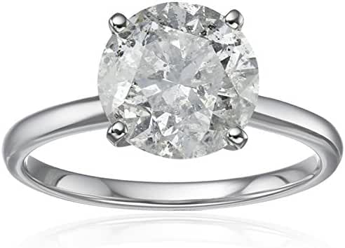 18k White Gold Diamond Solitaire Engagement Ring (3 carat, H-I Color, I3 Clarity)