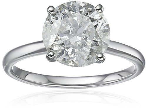 18k White Gold Diamond Solitaire Engagement Ring (3 carat, H I Color, I3 Clarity)