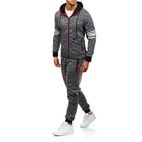 3d6275ea604 iLUGU Men s Autumn Winter Patchwork Sweatshirt Top Pants Sets Sports Suit  Tracksuit Loose Athletic Suit(