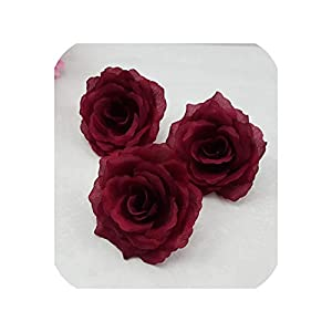 "4"" 10CM Artificial Roses Burgundy Silk Flower Heads DIY Wedding Home Decoration Festive Accessories Party Supplies(Can Mix) 10pcs 9"