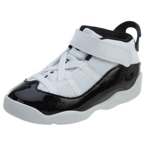 - Jordan Nike Toddler 6 Rings Basketball Shoes White/Black-Dark Concord 6C