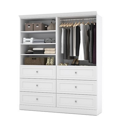 72' Closet Storage (Bestar Versatile 72'' 2 Piece 6-Drawer Storage Unit in White)