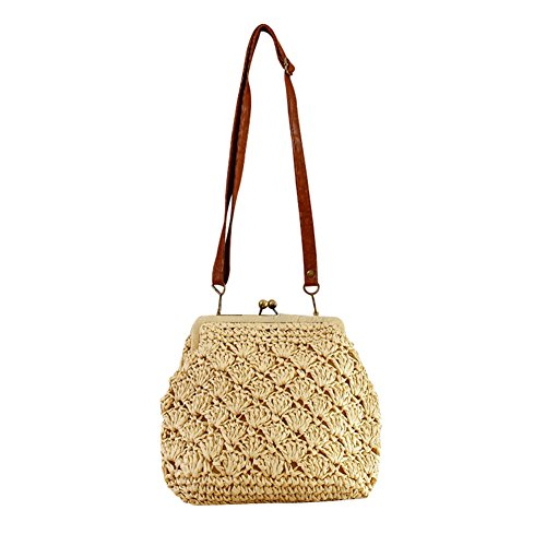 With Flada Straw Brass Buckle Shoulder Beige Vintage Bags Crochet Shell Closed Woven wCYZrHqpC