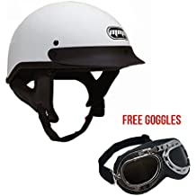 Motorcycle Half Helmet Cruiser DOT Street Legal – White (X-Large) comes with Goggles