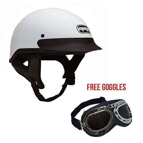 Motorcycle Half Helmet Cruiser DOT Street Legal – White (X-Large) + FREE Goggles Chrome Vintage Pilot Style (Helmets Half Snell)