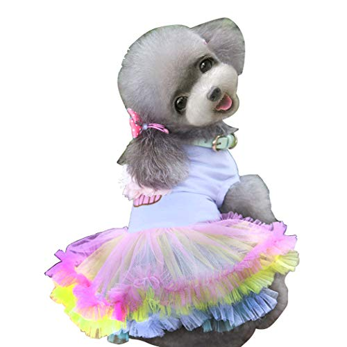 Dog Dress,Pet Dog Tutu Skirt Clothes Puppy Doggie Cat Cute Princess Skirt Lace Cake Camisole Tutu Dress for Small Dogs Cats for Summer (M:Back 9.8