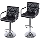 SONGMICS Set of 2 Adjustable Swivel Bar Stool Chairs Counter Stools, Breakfast Chairs with Arms and Back, PU, Black ULJB93B
