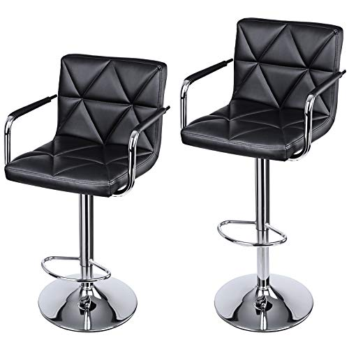 (SONGMICS Set of 2 Counter Height bar stools, Adjustable Chairs Breakfast Swivel stools with Arms & Back, PU, Black)