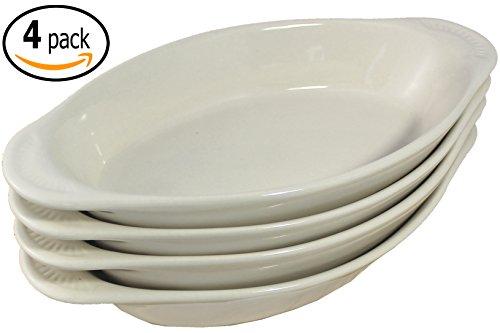 ITI Ceramic Oval Rarebit / Au Gratin Baking Dish with Pan Scraper, Set of 4 (15 Ounce, Bone (Au Gratin Casserole)