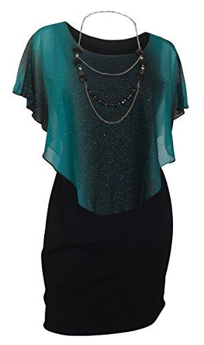 eVogues Women's Layered Poncho Dress Glitter Teal -