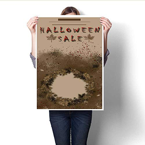 Canvas Wall Art Halloween Sale Festival Event Announcement Vertical Template in Spice Colors Frameless Canvas Texture decoration16 x20 -