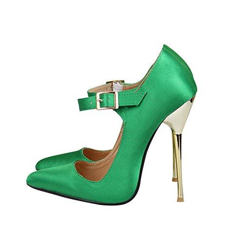 fereshte Men's Women's Satin Silk Crossdresser Drag Queen Buckle Metal Stiletto High Heels Party Pumps Green 3GLZ7o