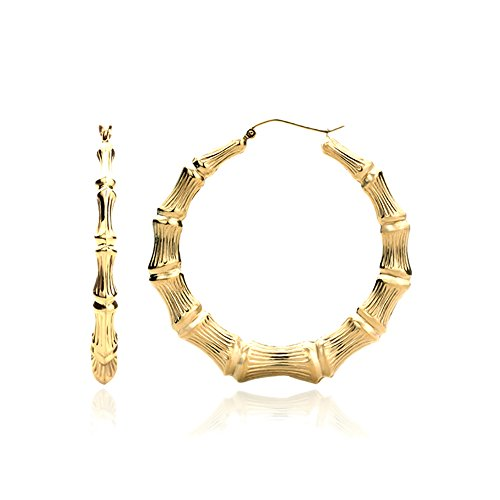 14K Yellow Gold 5mm Hollow Plain Gold Bamboo Hoop Earrings 14k Yellow Gold Plain Hoop